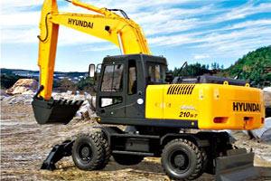 现代轮式挖掘机